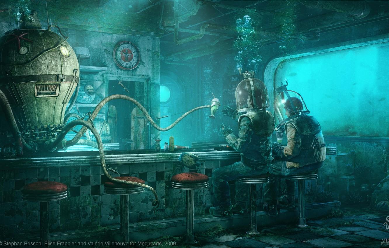 Photo wallpaper octopus, divers, under water, Stéphan Brisson, Elise Frappier, Octopus Diner, Valerie Villeneuve