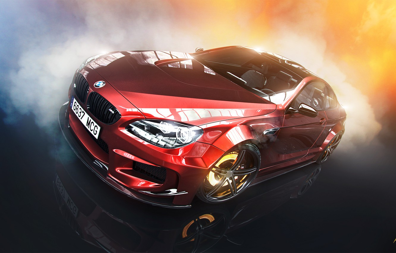 Photo wallpaper BMW, Red, Car, Smoke, Prior Design, Brake