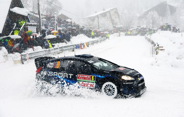 Photo wallpaper Ford, Winter, Auto, Snow, Sport, People, Turn, Ford, Race, Skid, WRC, Rally, Fiesta, Snowfall