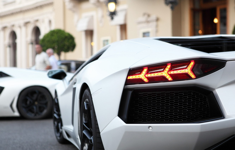 Photo wallpaper white, light, people, the building, Lamborghini, headlight, light, white, people, aventador, lp700-4, Lamborghini, aventador, double, …