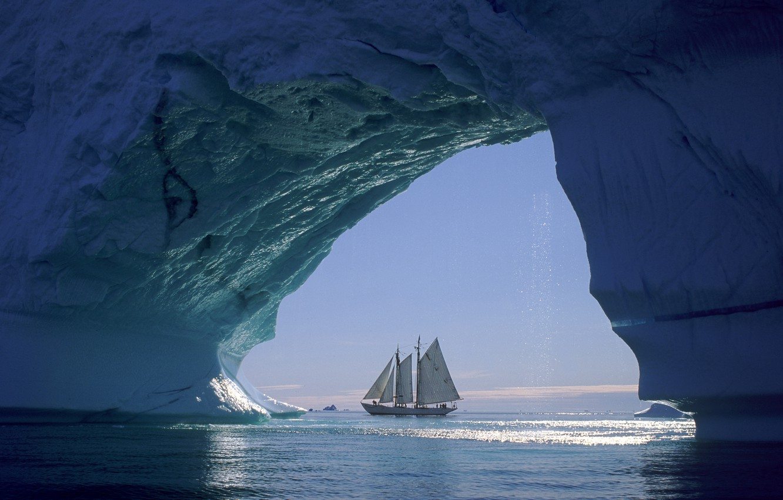 Photo wallpaper ice, sea, ship, sailboat