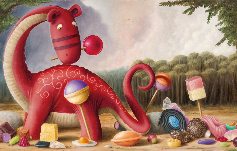 Photo wallpaper dinosaur, art, sweets, candy, children's