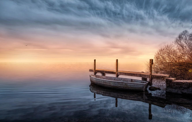 Photo wallpaper lake, boat, treatment, pier