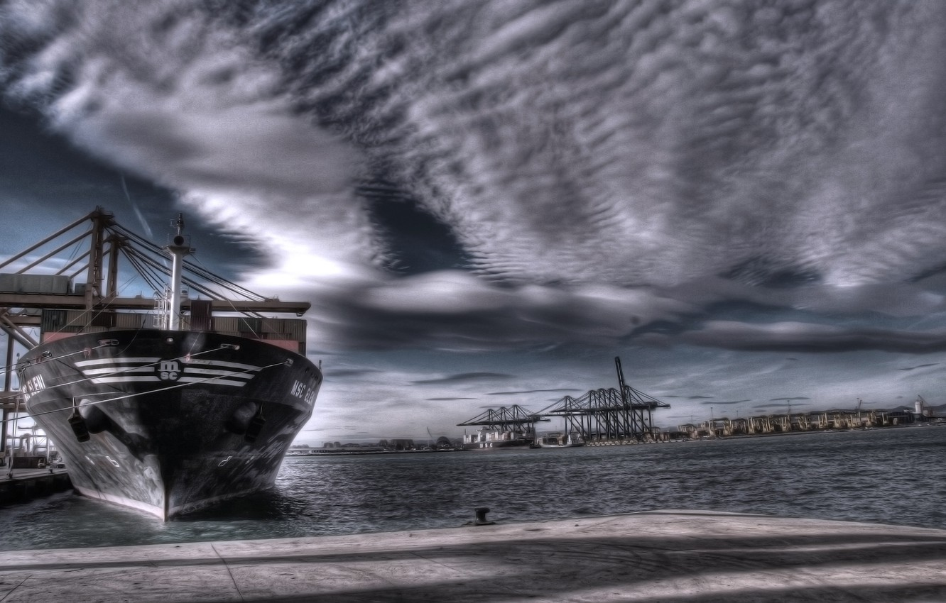 Photo wallpaper Water, Clouds, Sea, Port, Pier, The ship, A container ship, Tank, Terminal, MSC, Eleni, Storm