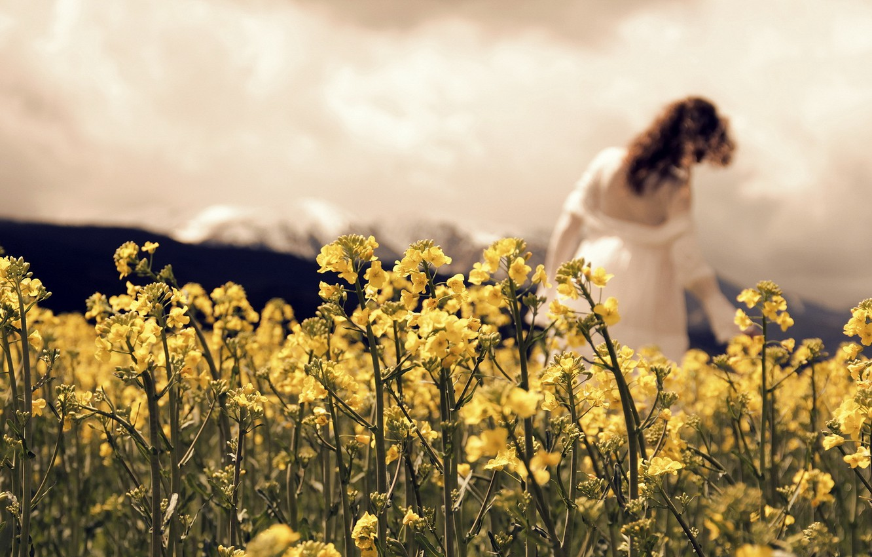 Photo wallpaper girl, nature, mood