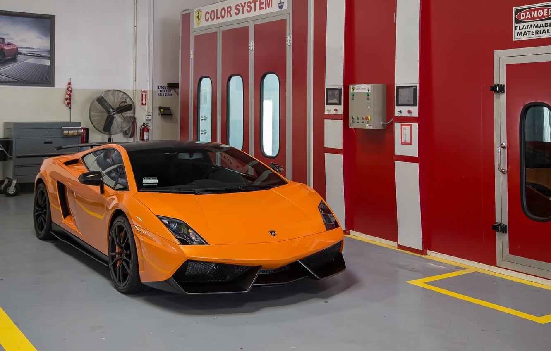 Photo wallpaper Lamborghini, Orange, Gallardo, Box