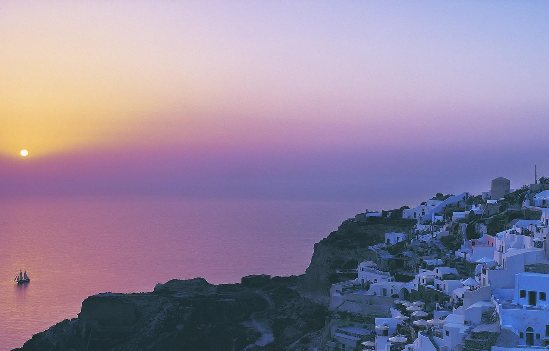 Photo wallpaper sea, the city, boat, The sun, morning, 158