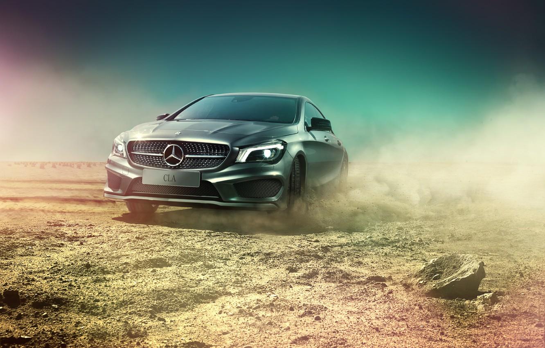 Photo wallpaper desert, Mercedes-Benz, dust, skid, AMG, silvery, CLA, CLA-class, C117