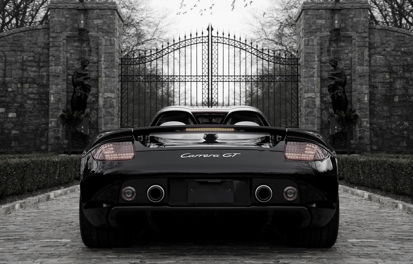 Photo wallpaper black, Porsche, Porsche, black, the gates, back, carrera, Carrera, gate