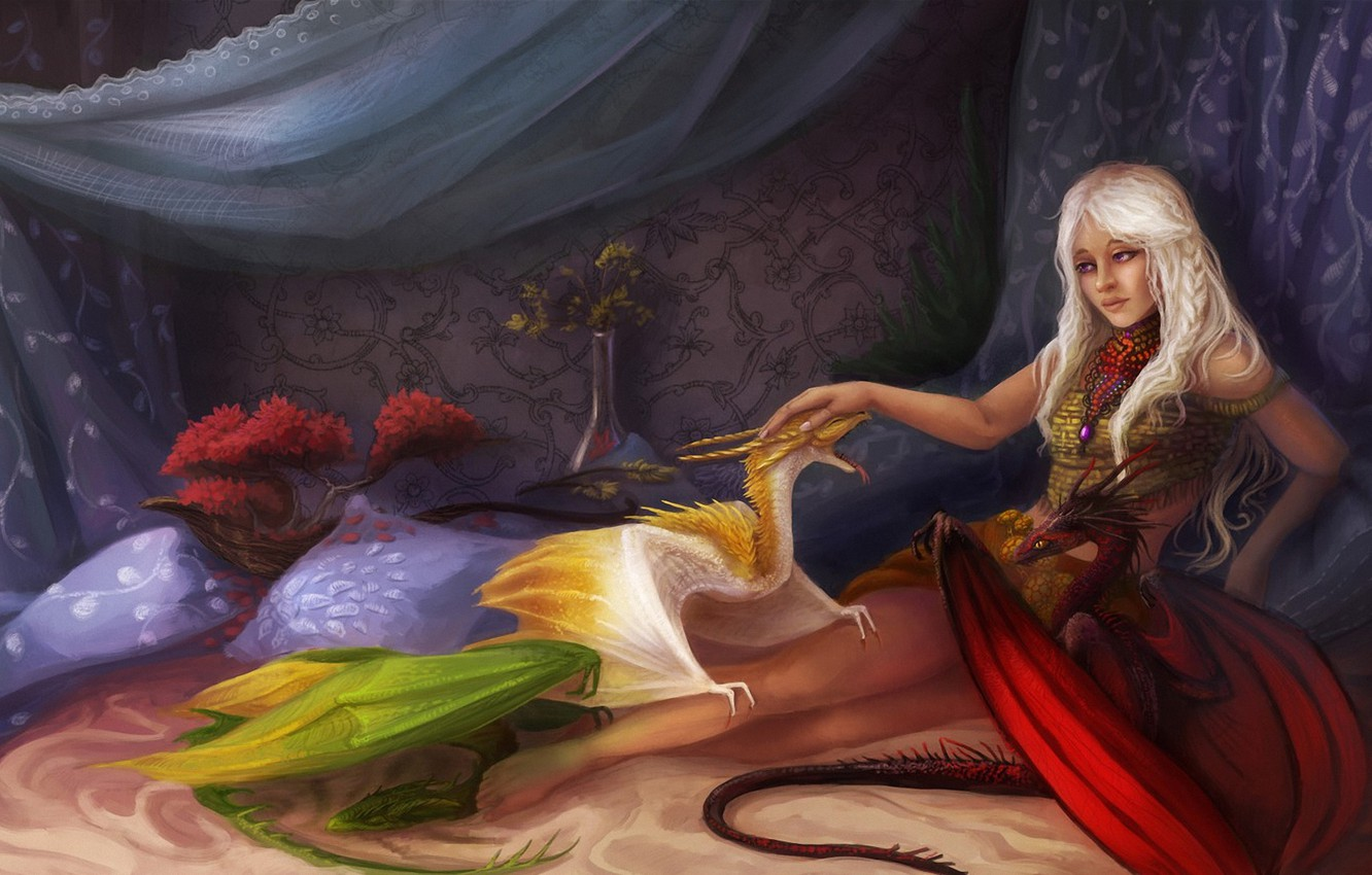 Photo wallpaper girl, bed, dragons, pillow, fantasy, art, Game of Thrones, cubs