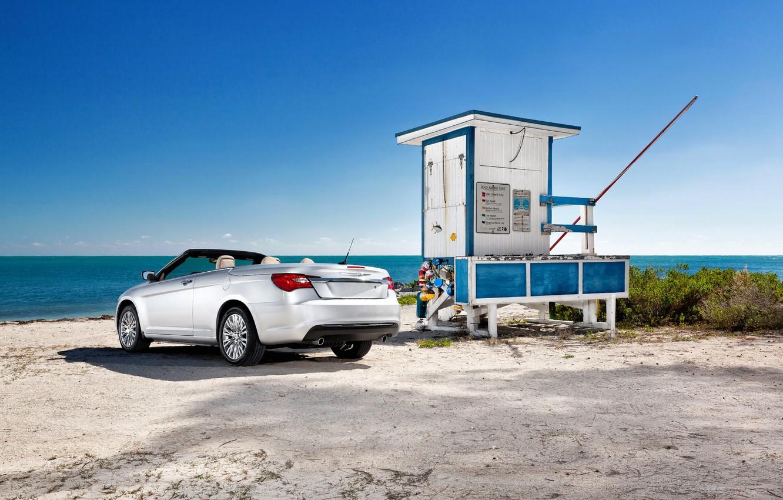 Photo wallpaper The sky, Sea, Auto, Chrysler, Machine, Summer, Convertible, day, Grey, 200
