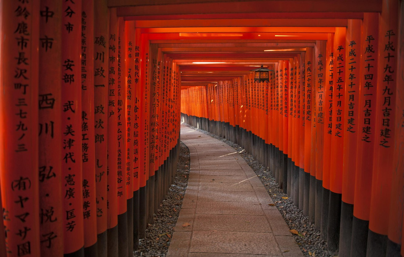Photo wallpaper the inscription, posts, Japan, characters, tunnel, The tunnel of Red gates to the Shrine Fushimi …