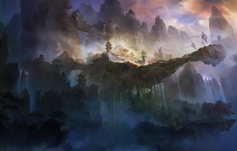 Photo wallpaper mountains, rocks, Asia, height, art, temple
