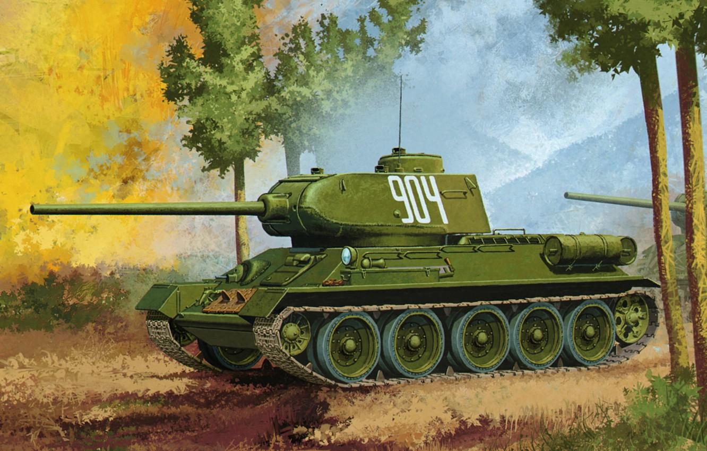 Photo wallpaper war, art, painting, tank, T-34/85, ww2 tank