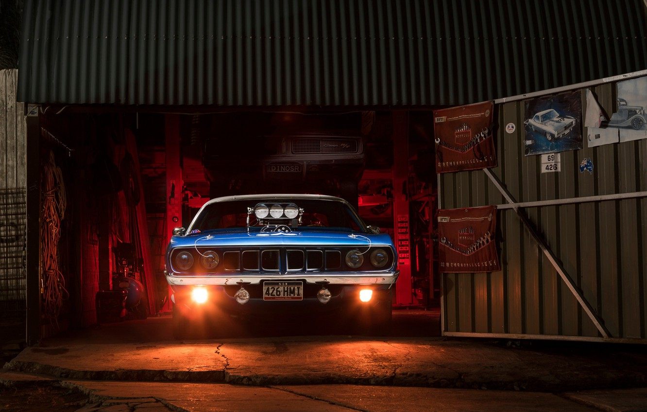 Photo wallpaper light, garage, Chrysler, muscle car, Plymouth Barracuda