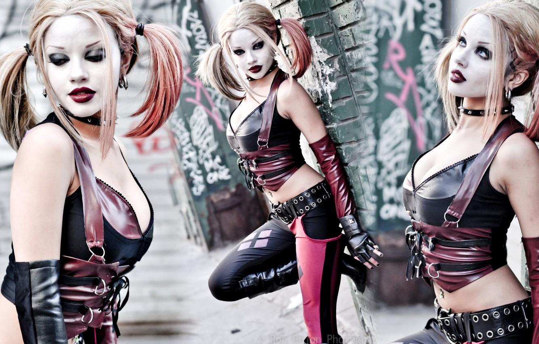 Photo wallpaper sexy, Batman, girls, beautiful, beauty, women, cosplay, sensual, models, arkham city, pose, piercing, blondes, tummy, …