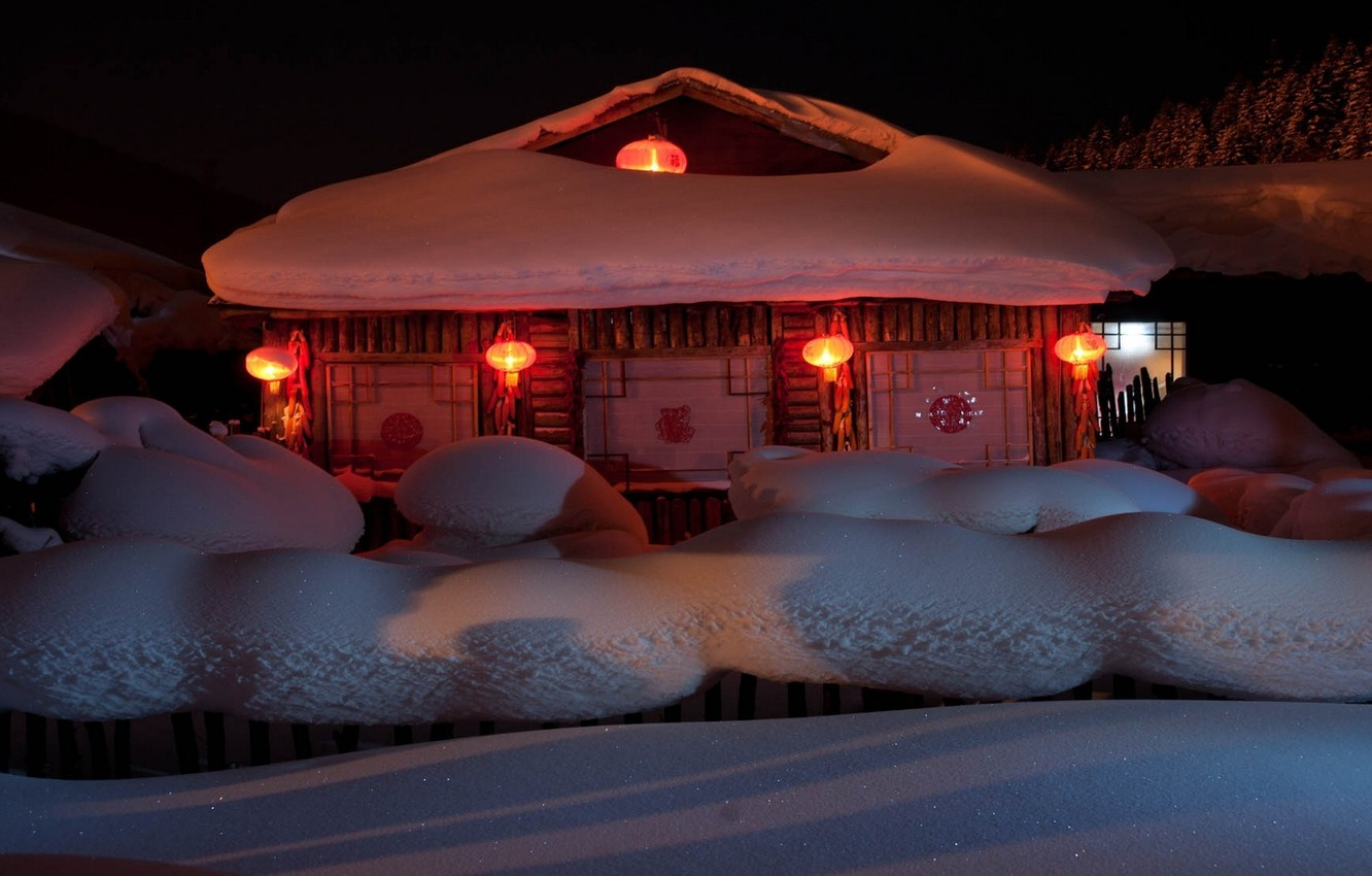Photo wallpaper snow, house, holiday, New Year, lights, year, New Year, 2014