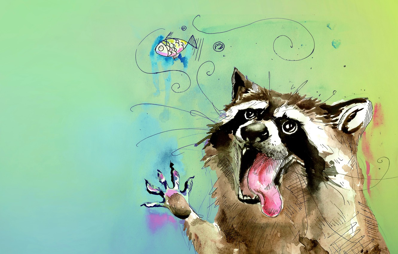 Photo wallpaper language, animal, figure, color, fish, watercolor, raccoon, bubble, a gargle, slut