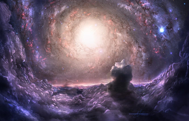 Photo wallpaper Purple, Stars, Space, Clusters, Galaxy, Galaxies