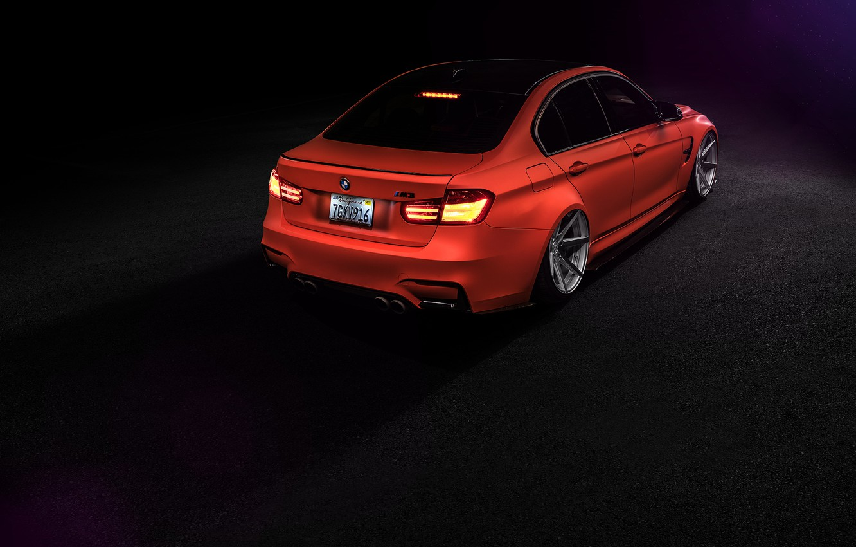 Photo wallpaper BMW, Orange, Car, Tuning, Vossen, Low, Wheels, Rear, F80, Perfomance