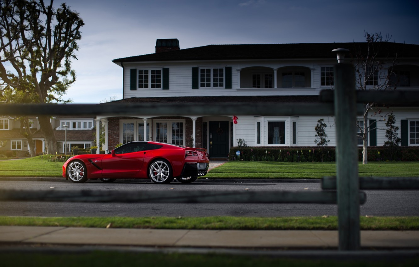 Photo wallpaper Corvette, Chevrolet, House, Red, Car, Street, Sport, Stingray, 2014, Rear
