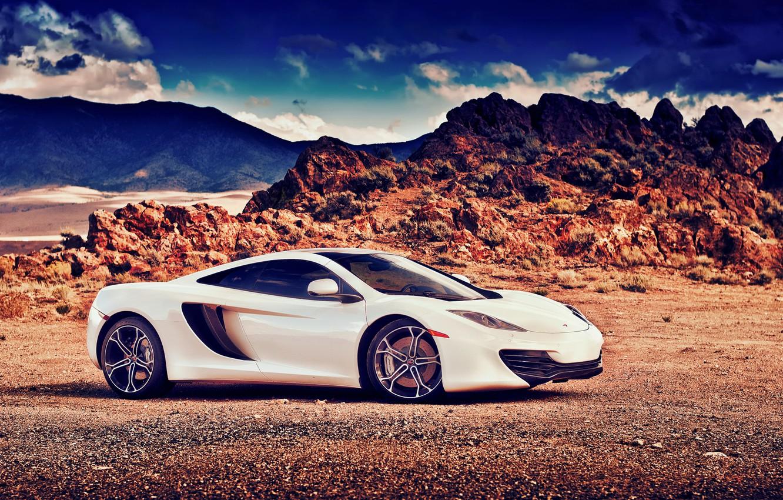 Photo wallpaper McLaren, white, MP4-12C, profile