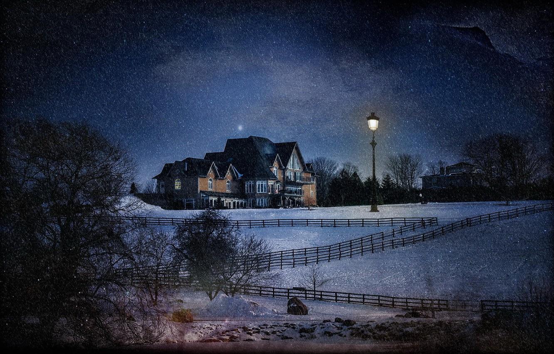 Photo wallpaper snow, night, house, treatment, lantern