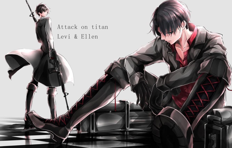 Photo wallpaper weapons, guys, Levi, Ellen, Attack on titan