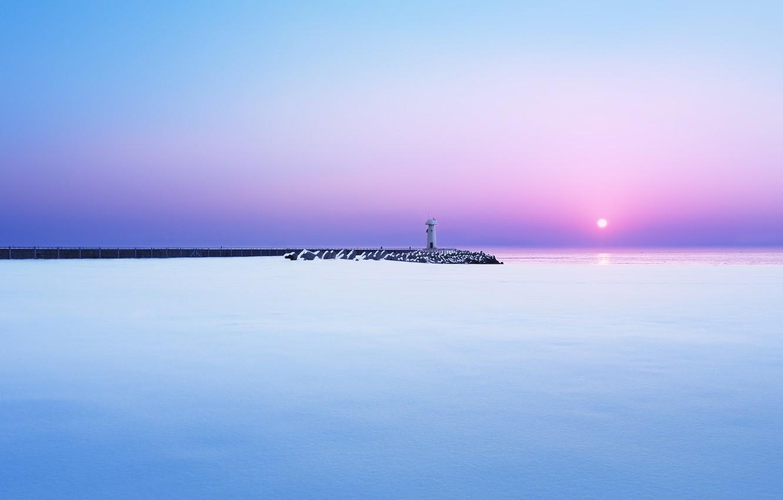 Photo wallpaper winter, sea, snow, dawn, lighthouse, morning, pierce