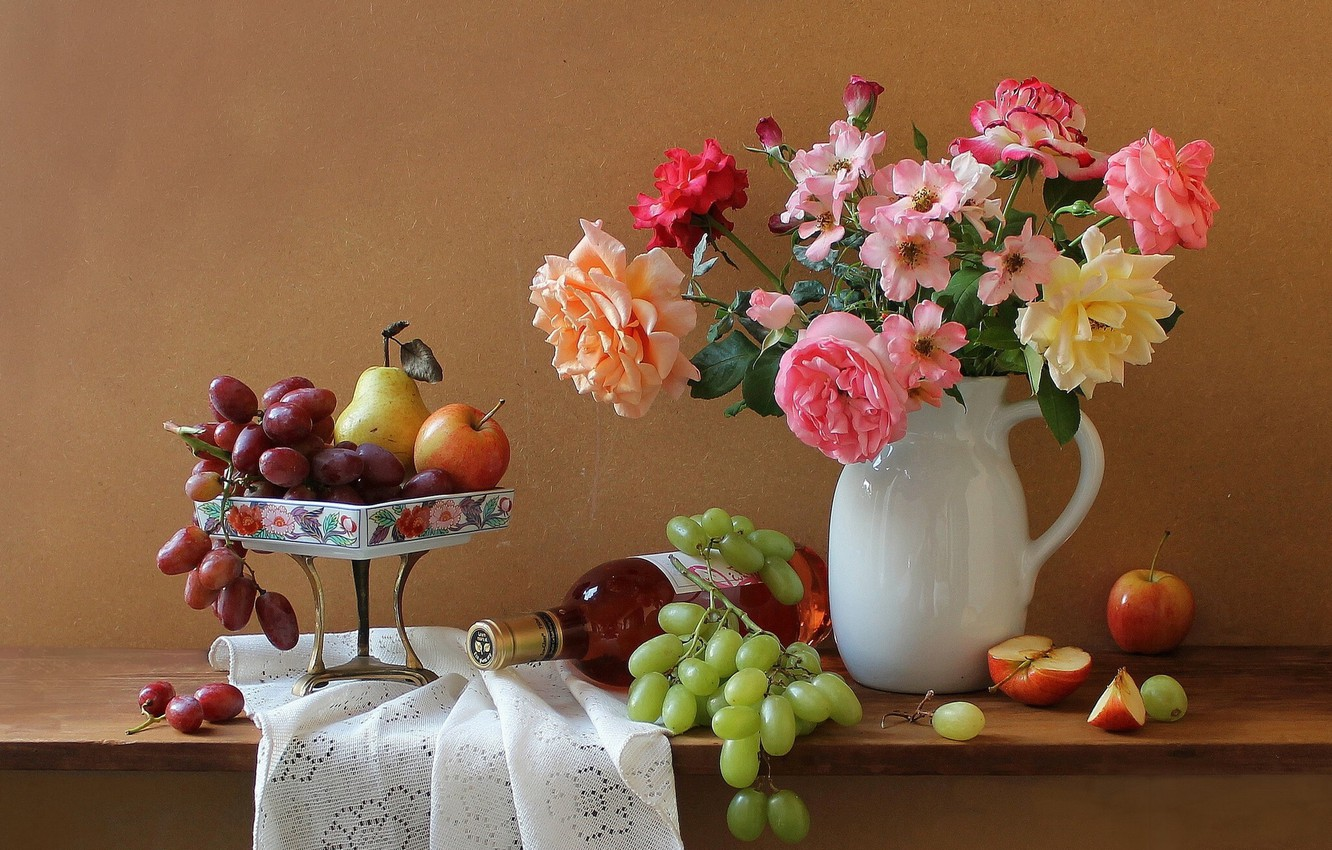Photo wallpaper flowers, wine, apples, bottle, roses, bouquet, grapes, pitcher, still life
