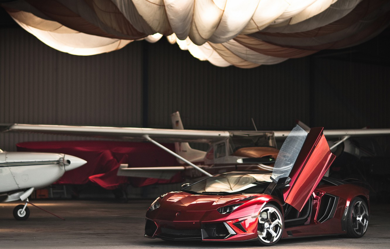 Photo wallpaper red, Lamborghini, hangar, red, the plane, Lamborghini, LP700-4, Aventador, Lamborghini, aventador, Mansory, LB834