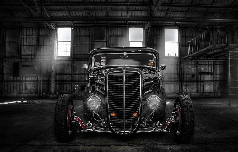 Photo wallpaper retro, lights, hangar, classic, the front, hot-rod, classic car