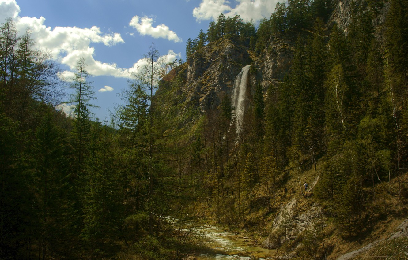 Photo wallpaper the sky, clouds, trees, mountains, rock, waterfall, Nature, ate, tourists