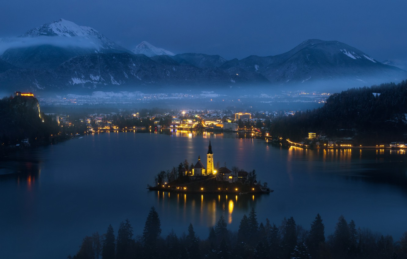 Wallpaper City Lights Night Mountains Clouds Lake Snow