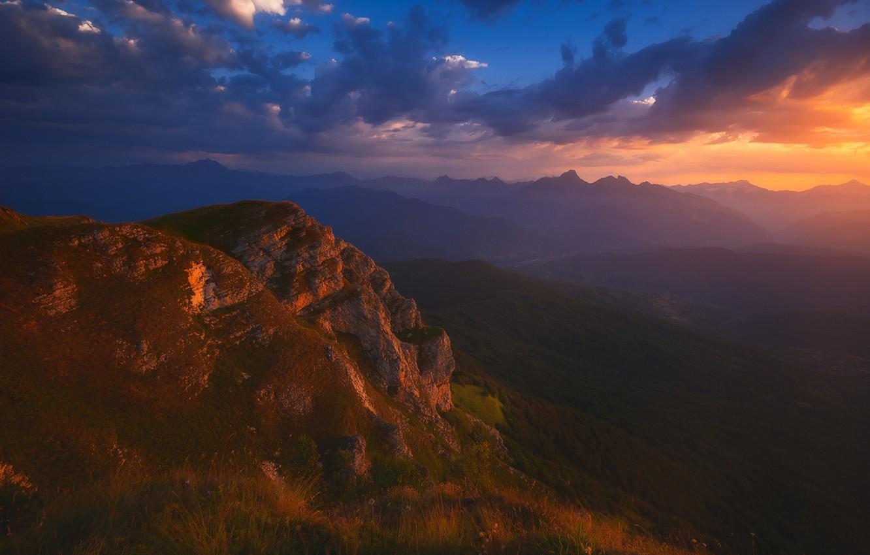 Photo wallpaper Clouds, Sky, Landscape, Sunset, Georgia, Caucasus, Racha