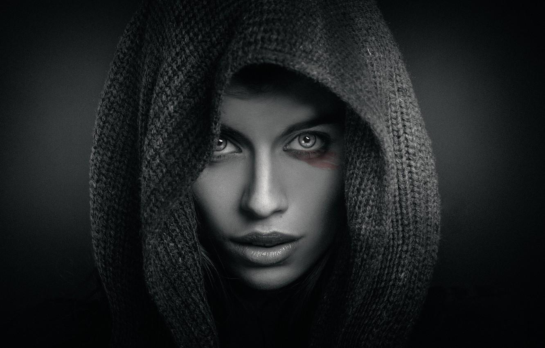 Photo wallpaper girl, makeup, hood, Joachim Bergauer