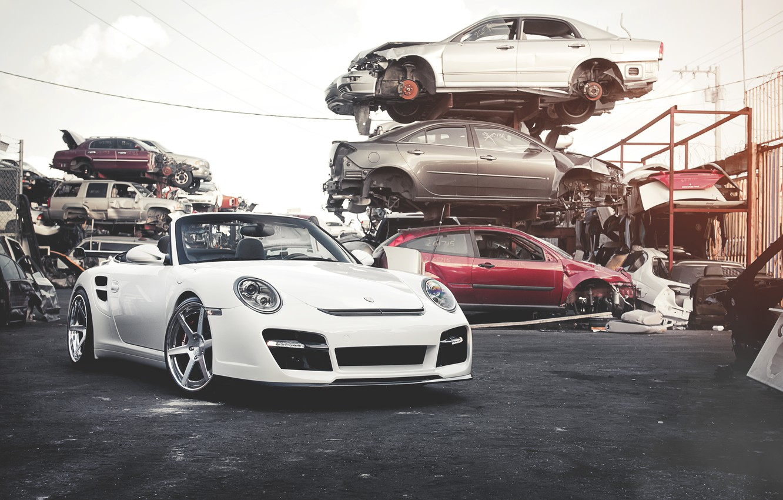Photo wallpaper white, 911, Porsche, dump, white, Roadster, Porsche, Turbo, the front part, salvage cars, car stuff, …