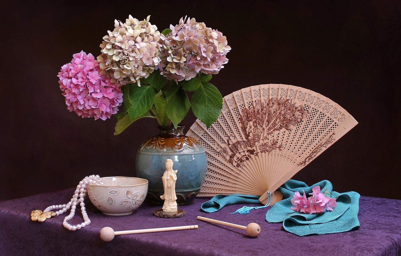 Photo wallpaper table, background, bowl, petals, fan, fabric, beads, vase, figurine, lilac, clips