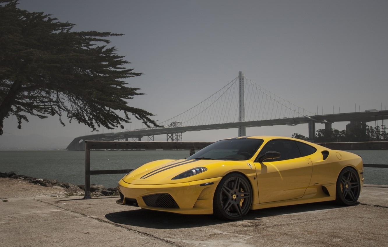 Photo wallpaper F430, Ferrari, yellow, novitec, scuderia