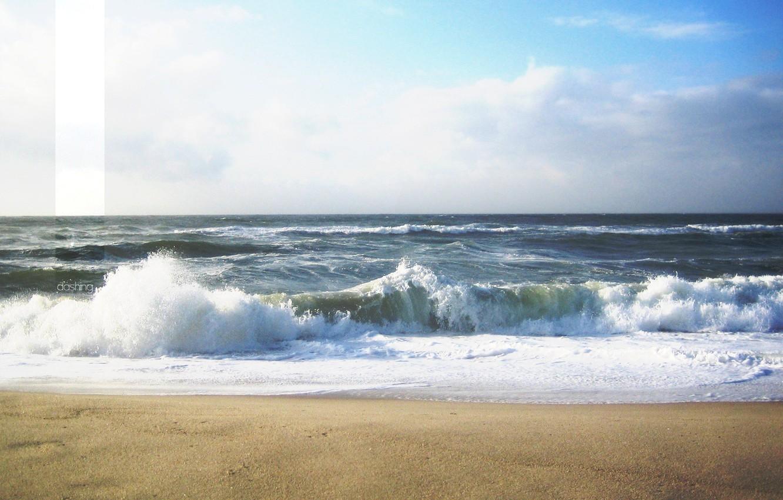 Photo wallpaper sand, sea, wave, foam, landscape, squirt, labels, strip, dashing