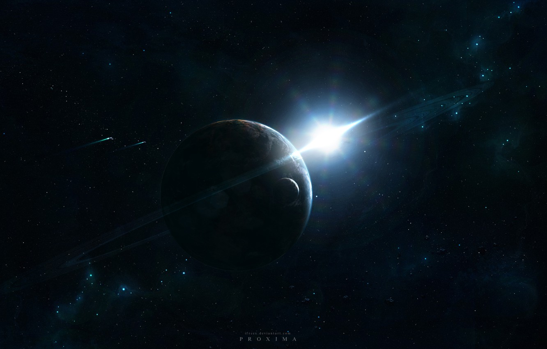 Photo wallpaper space, light, lights, planet, satellite, ships, stars, ring, space ships