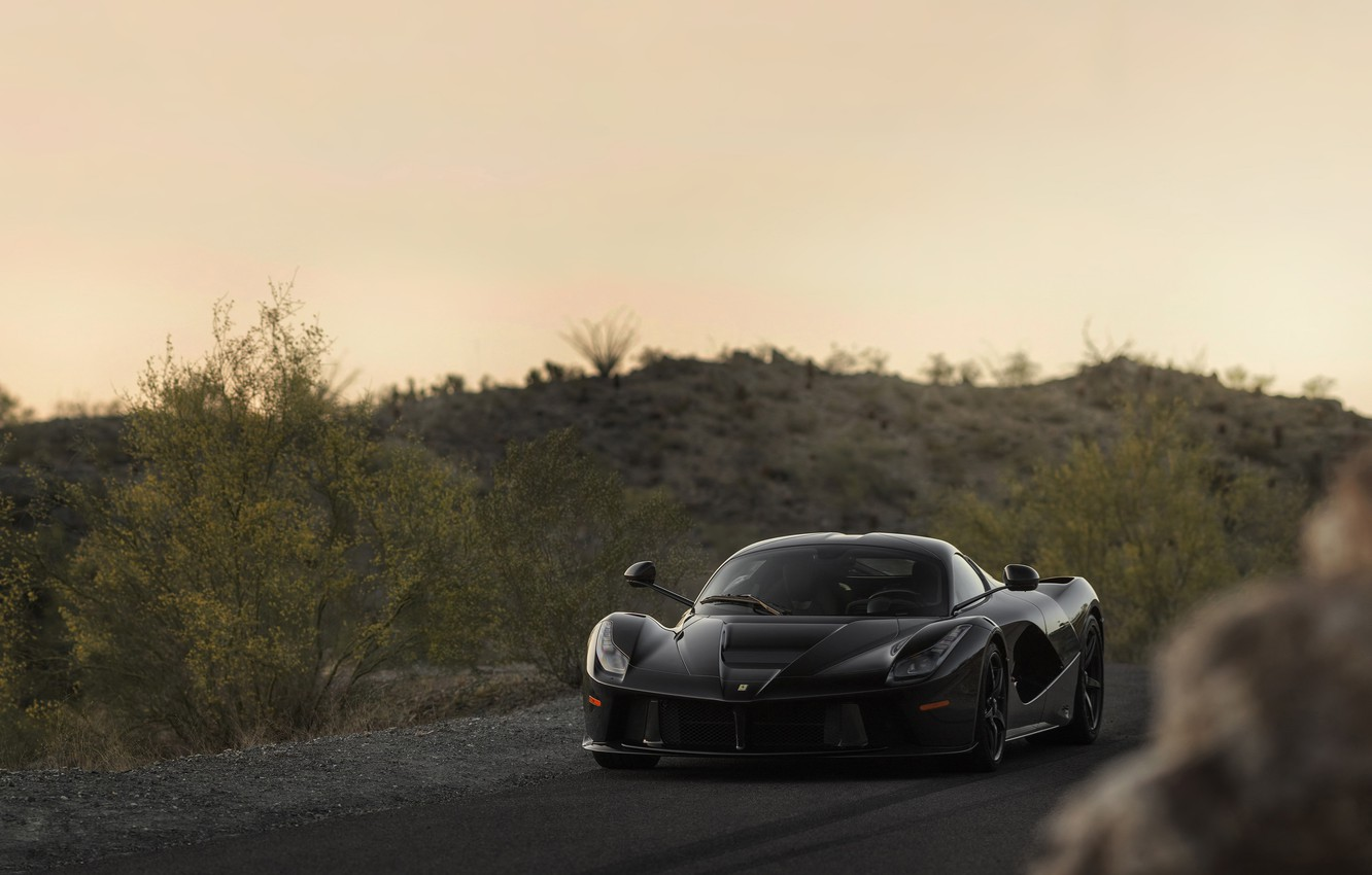 Photo wallpaper Ferrari, Car, Black, Super, LaFerrari