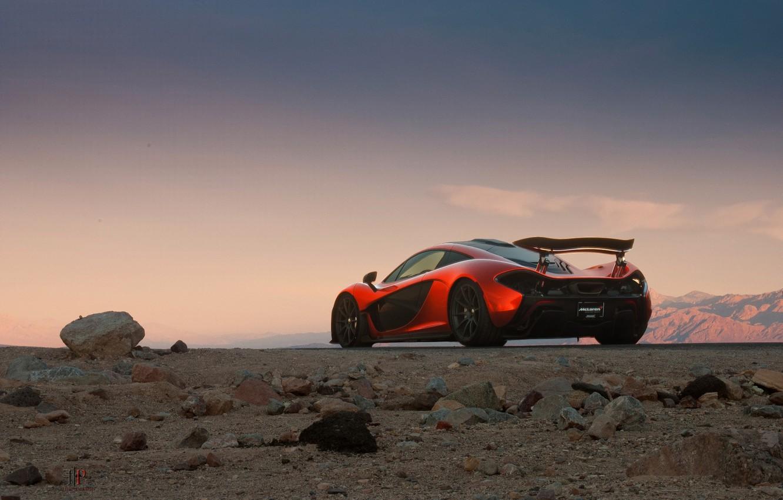 Photo wallpaper McLaren, Orange, Death, Sand, Supercar, Valley, Spoiler, Hypercar, Exotic, Rear, Volcano, Extra, Terrestrial
