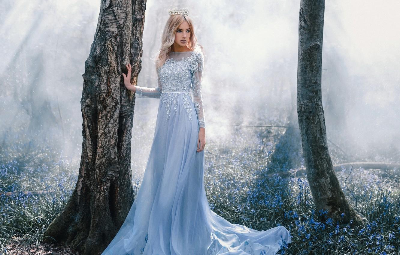Photo wallpaper forest, girl, trees, flowers, fog, trunks, spring, crown, dress, Princess, fabulously, Wallpaper from lolita777