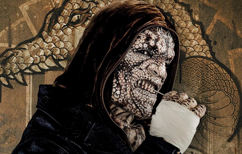 Photo wallpaper cinema, wall, graffiti, power, man, movie, leather, face, animal, dragon, bad, assassin, hero, killer, film, …