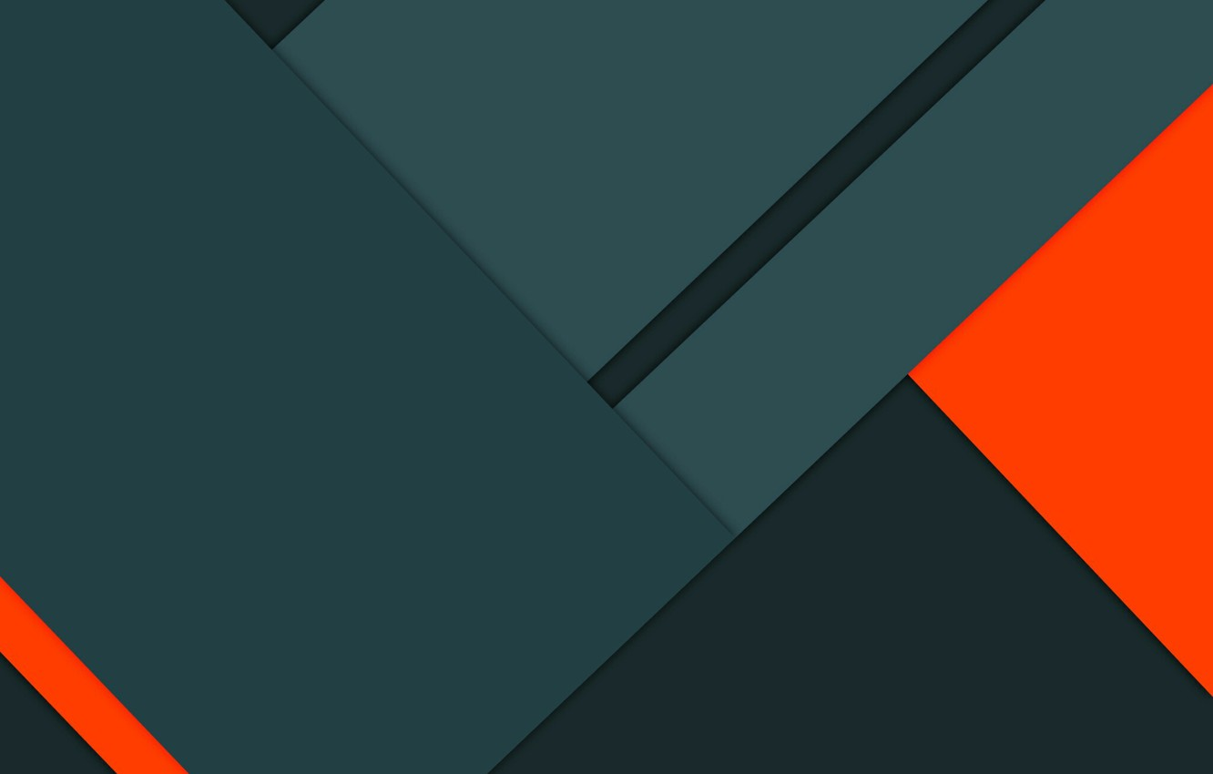Photo wallpaper Orange, Android, Design, 5.0, Lines, Lollipop, Material, Triangles, Angles, Abstractions