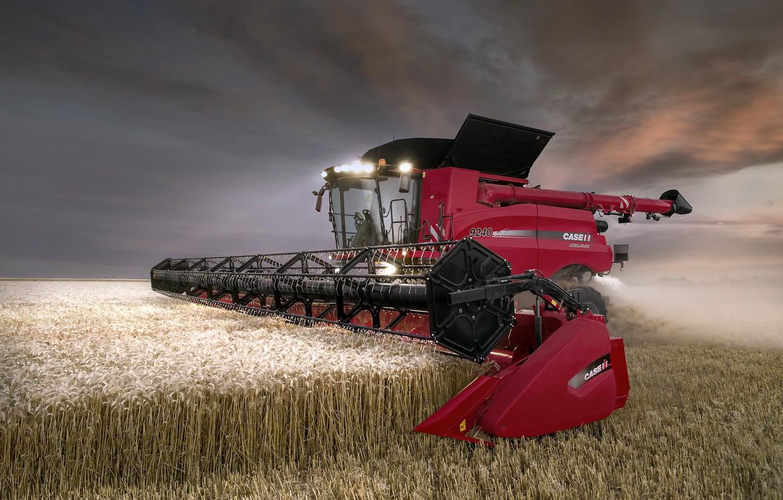 Photo wallpaper field, harvester, Case IH Axial Flow 9240