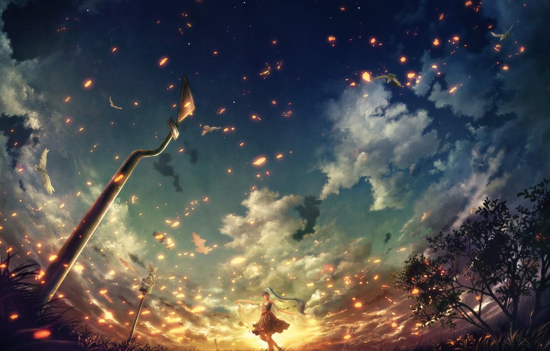 Photo wallpaper the sky, girl, clouds, birds, lights, pigeons