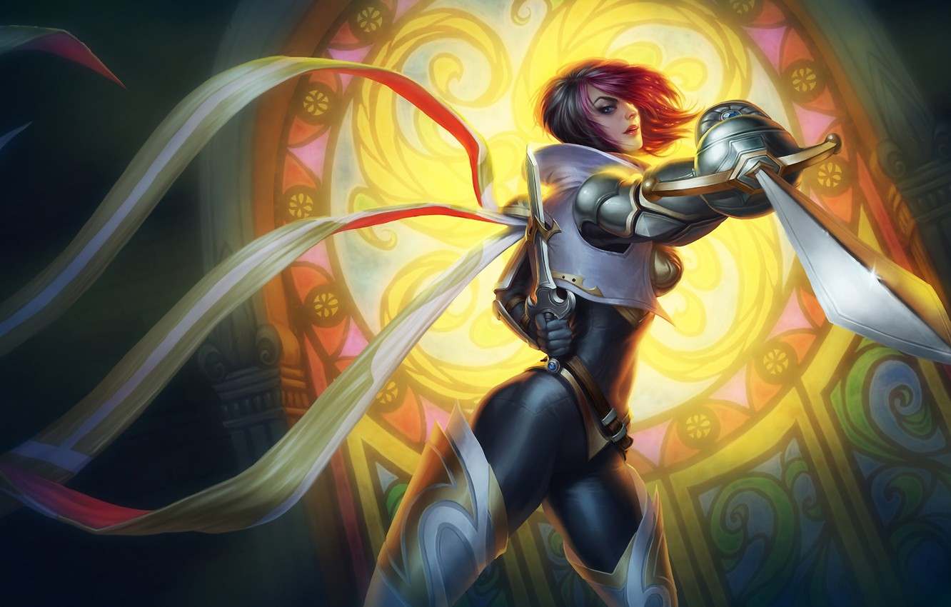 Photo wallpaper look, girl, tape, armor, stained glass, swords, League of Legends, LoL, attack, Fiora