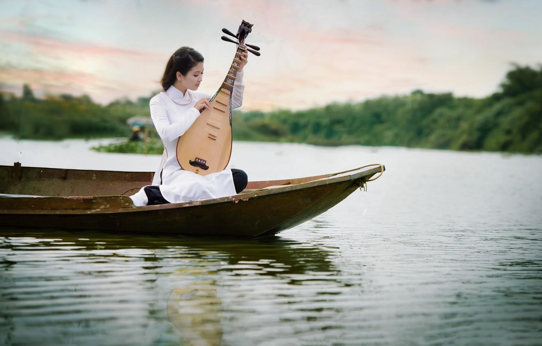 Photo wallpaper girl, music, boat, tool, Asian, pond